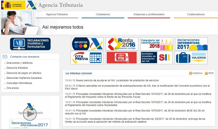 web de la Agencia Tributaria